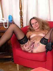 breasted in bare black stockings Voluptuous ladies
